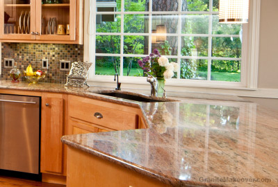 glass tile backsplash with granite