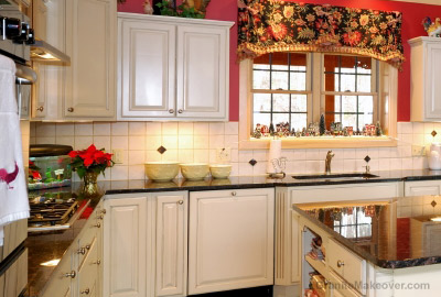 granite countertop with country kitchen tile backsplash